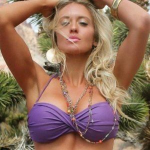 NEW Sexy Fringe Bandeau Top Purple  - S